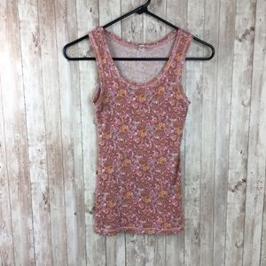 Uniqlo Pink Floral XS Tank Top